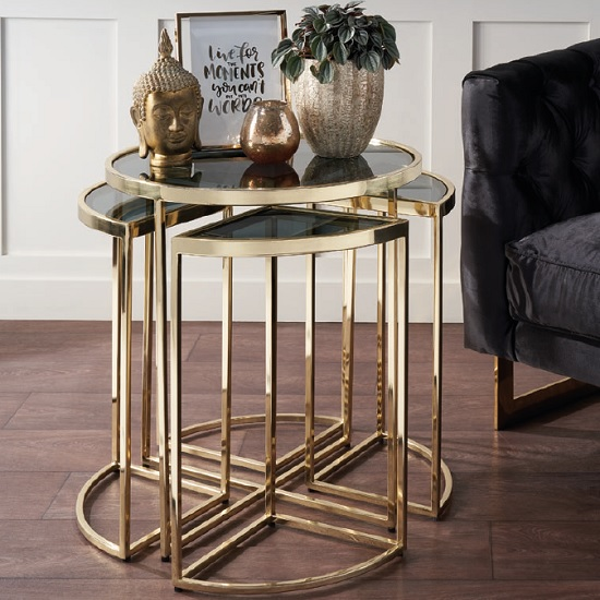 Clinick Glass Nest Of Tables In Black Smoke And Brass Finish