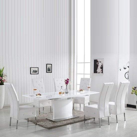 Clintock High Gloss Dining Table And 6 Asam White Chairs