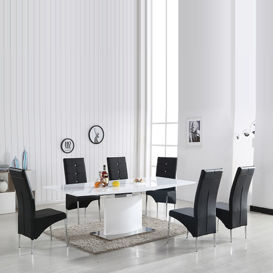 Clintock High Gloss Dining Table And 6 Vesta Black Chairs