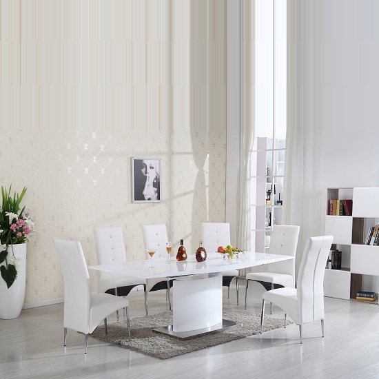 Clintock High Gloss Dining Table And 6 Vesta White Chairs_2