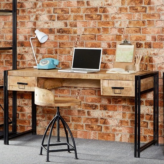 Clio Wooden Computer Desk In Reclaimed Wood And Metal Frame_1