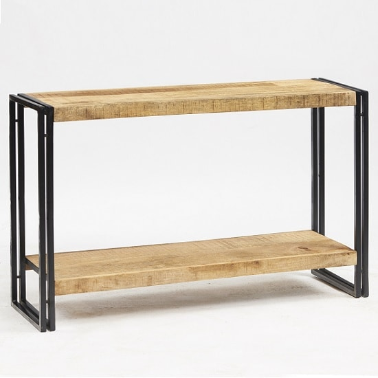 Clio Wooden Console Table In Reclaimed Wood And Metal Frame
