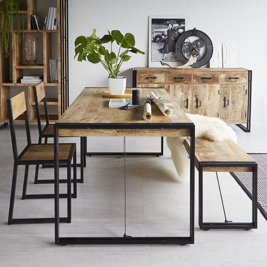 View Clio industrial dining table in oak with 2 chairs and bench