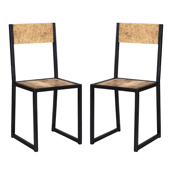 View Clio industrial oak wooden dining chairs in pair