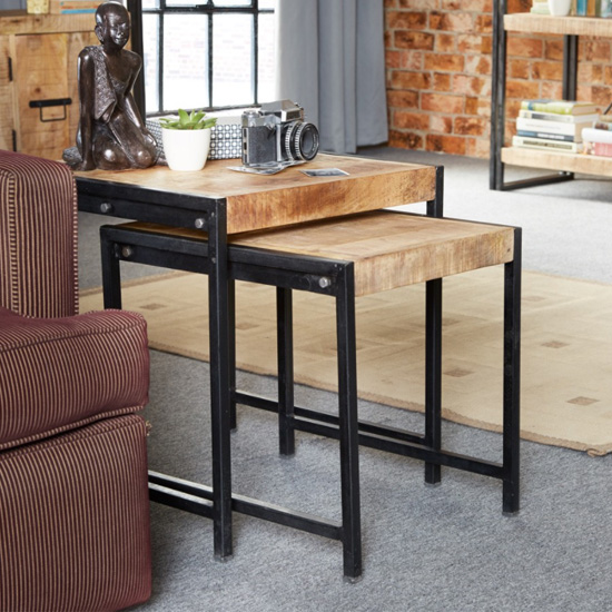 Clio Industrial Wooden Nest Of 2 Tables In Oak