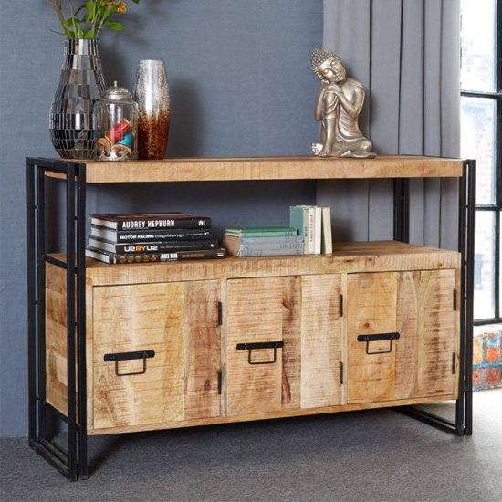 Clio Industrial Wooden Sideboard In Oak With 3 Drawers 1 Shelf