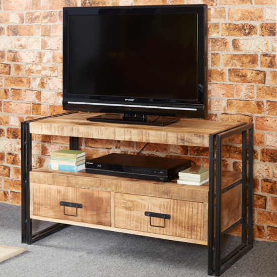 View Clio industrial wooden tv stand in oak with 2 drawers