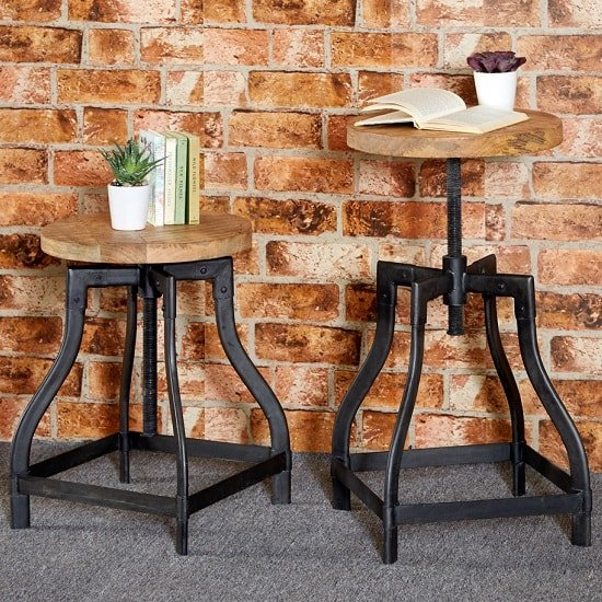 Clio Wooden Stool Round In Reclaimed Wood And Metal_1