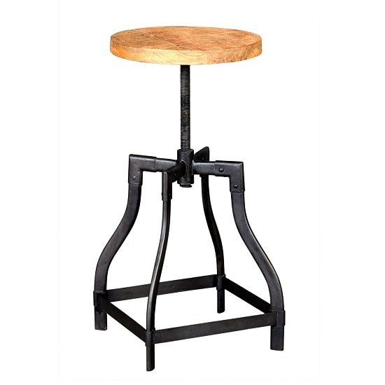 Clio Wooden Stool Round In Reclaimed Wood And Metal_2