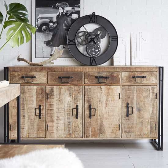 Clio Wooden Sideboard In Oak With 4 Doors And 4 Drawers