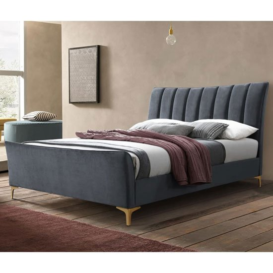 Clover Fabric Double Bed In Grey Velvet