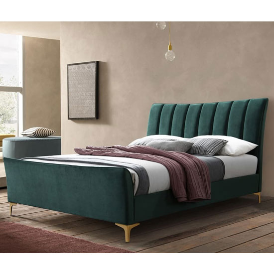 Clover Fabric King Size Bed In Green Velvet