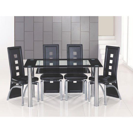 Club Large Black Bordered Clear Glass Dining Table And 6 Chairs