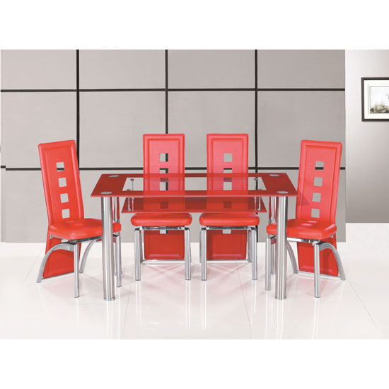 Club Large Red Bordered Clear Glass Dining Table And 4 Chairs