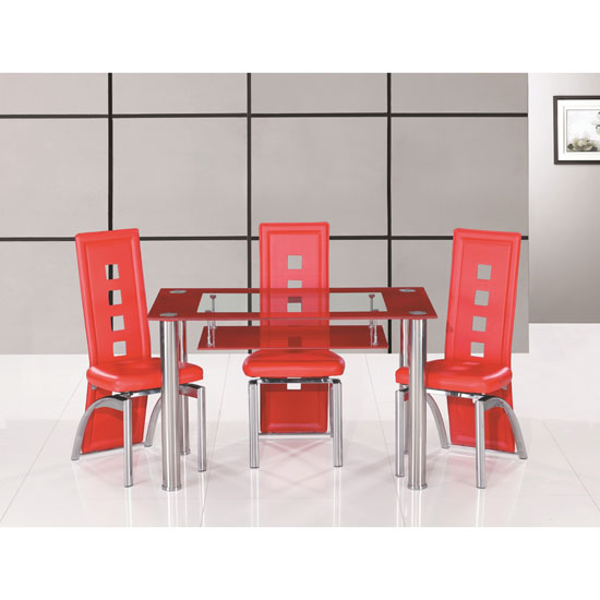 Club Glass Dining Table Small In Red And Clear