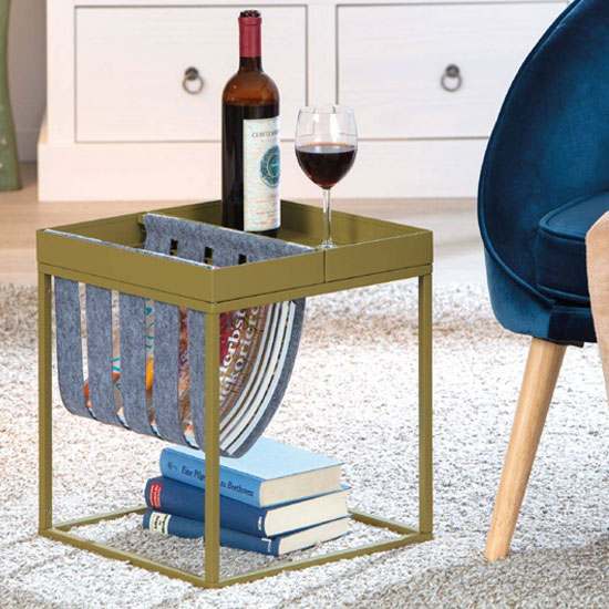 Club NY Magazine Metal Side Table In Martini Olive_1
