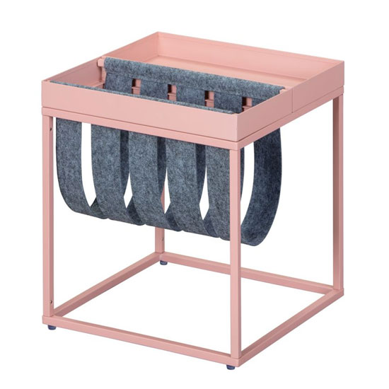 Club NY Magazine Metal Side Table In Mellow Pink_2