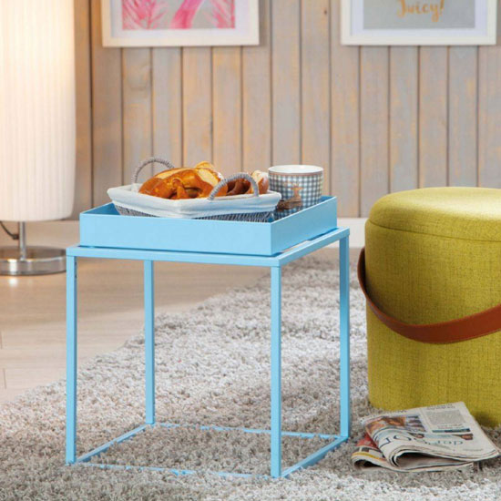 Club NY Metal Side Table In Candy Blue