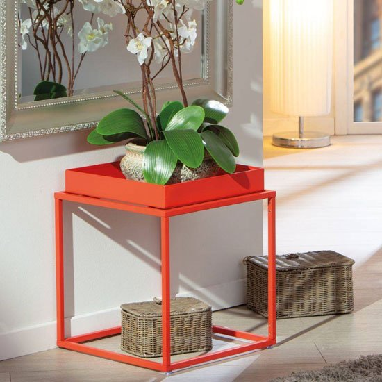 Club NY Metal Side Table In Juicy Orange Red