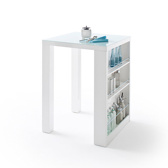 Club Square High Bar Table In White Gloss And Glass With
