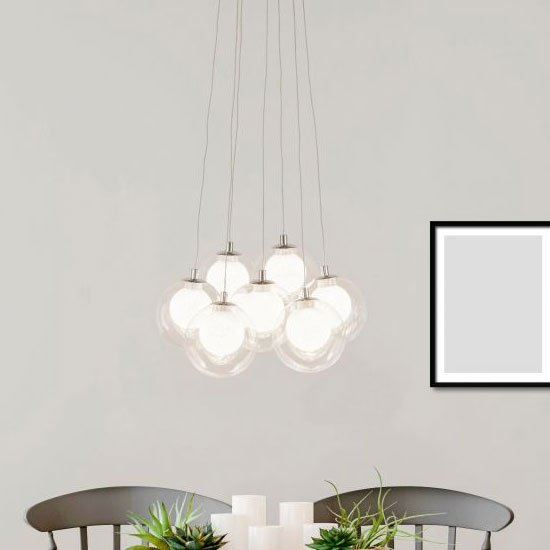 View Cluster led ball 7 pendant light in chrome with clear glass