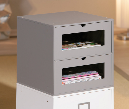 Maxim Shelving Unit In Grey Two Drawes For Home And Office