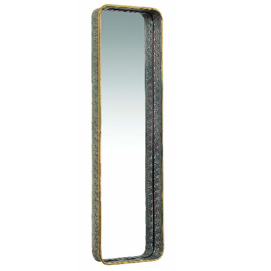 Coastal Large Wall Mirror Rectangular In Antique Gold Brass