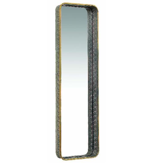 Coastal Large Wall Mirror Rectangular In Antique Gold Brass