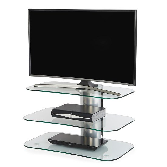 Coaster Glass TV Stand Small In Clear With Chrome Supports_1