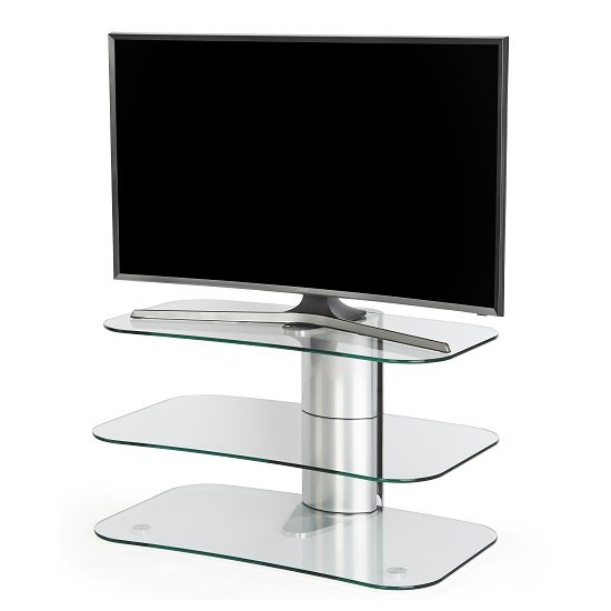 Coaster Glass TV Stand Small In Clear With Chrome Supports_3