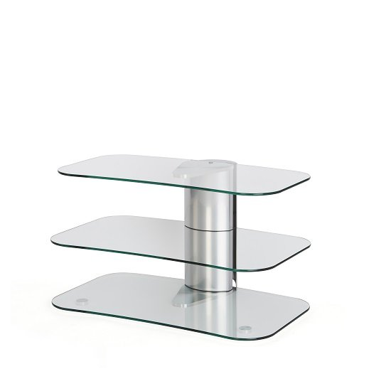 Coaster Glass TV Stand Small In Clear With Chrome Supports_4