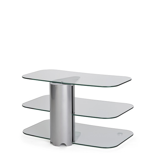 Coaster Glass TV Stand Small In Clear With Chrome Supports_2