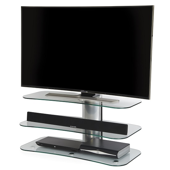 Coaster Glass TV Stand In Clear With Chrome Supports