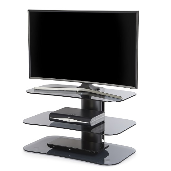 Coaster Glass TV Stand Small In Grey With Black Metal Column
