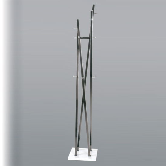 Gregor Hat And Coat Stand In Black With Square Shape White Base