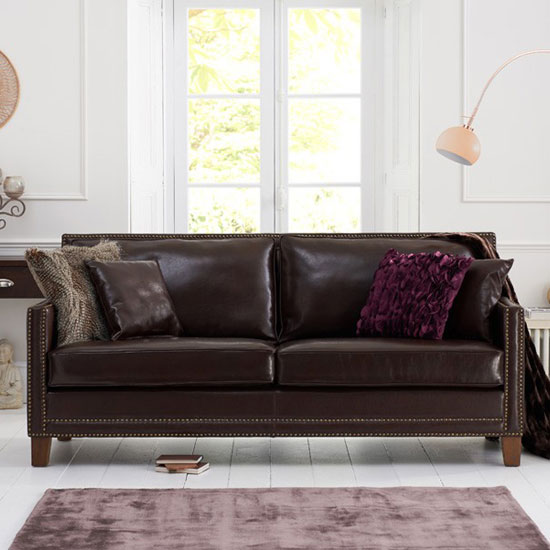 Cobalt 3 Seater Sofa In Brown Leather With Dark Ash Legs