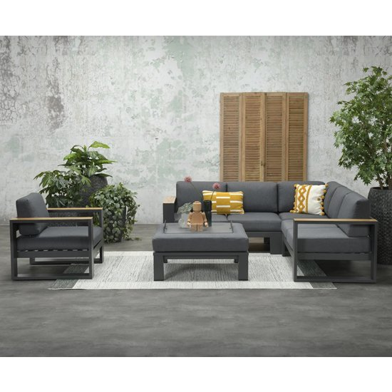 Cobe Corner Sofa Group With Armchair And Ottoman In Charcoal