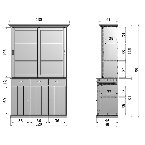 White Pine Cabinets: Cobham Glass Display Cabinet In White Pine With 5 Doors