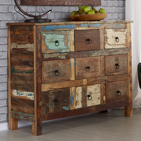 Coburg Wooden Chest Of Drawers In Vintage Oak With 9 Drawers