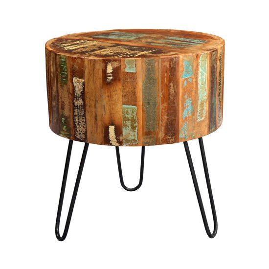 View Coburg wooden drum side table in vintage oak