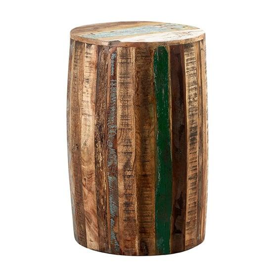 View Coburg wooden drum stool in vintage oak