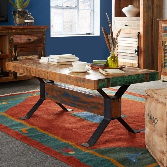 Coburg Wooden Coffee Table Rectangular In Reclaimed Wood