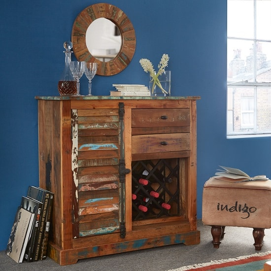 Coburg Wooden Sideboard In Reclaimed Wood With Wine Rack