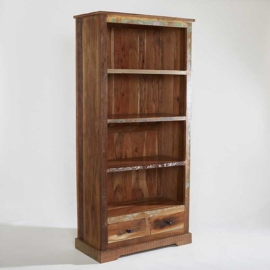 Large Wooden Bookcases ~ Coburg wooden bookcase large in reclaimed wood
