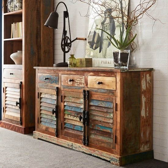 Coburg Wooden Sideboard In Reclaimed Wood With 3 Doors