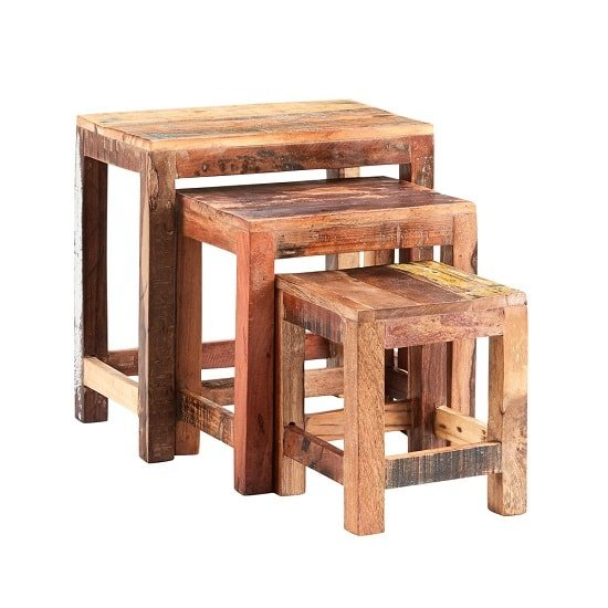 Coburg Wooden Nest Of 3 Tables In Reclaimed Wood_2