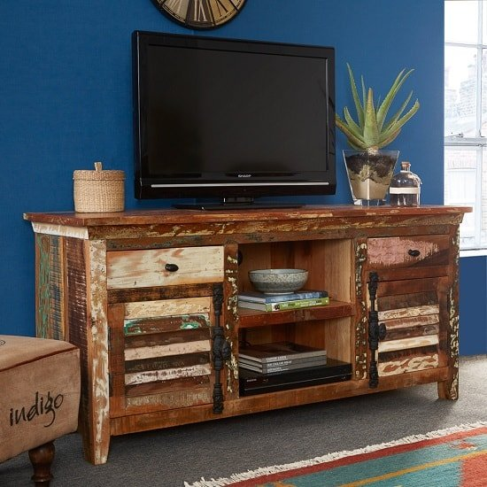 Coburg Wooden TV Sideboard In Reclaimed Wood With 2 Doors
