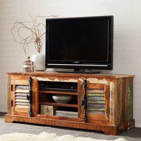 Coburg Wooden TV Stand In Reclaimed Wood With 2 Doors