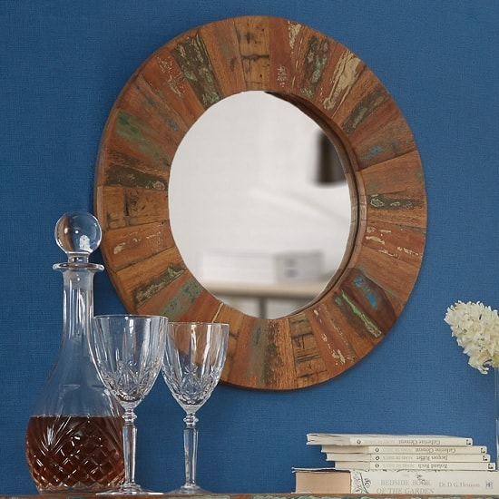 Coburg Wooden Wall Mirror Round In Reclaimed Wood