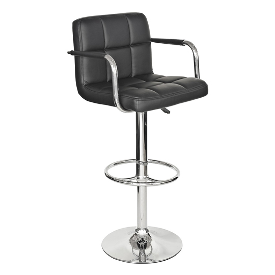 Coco Black Faux Leather Bar Stool With Chrome Base